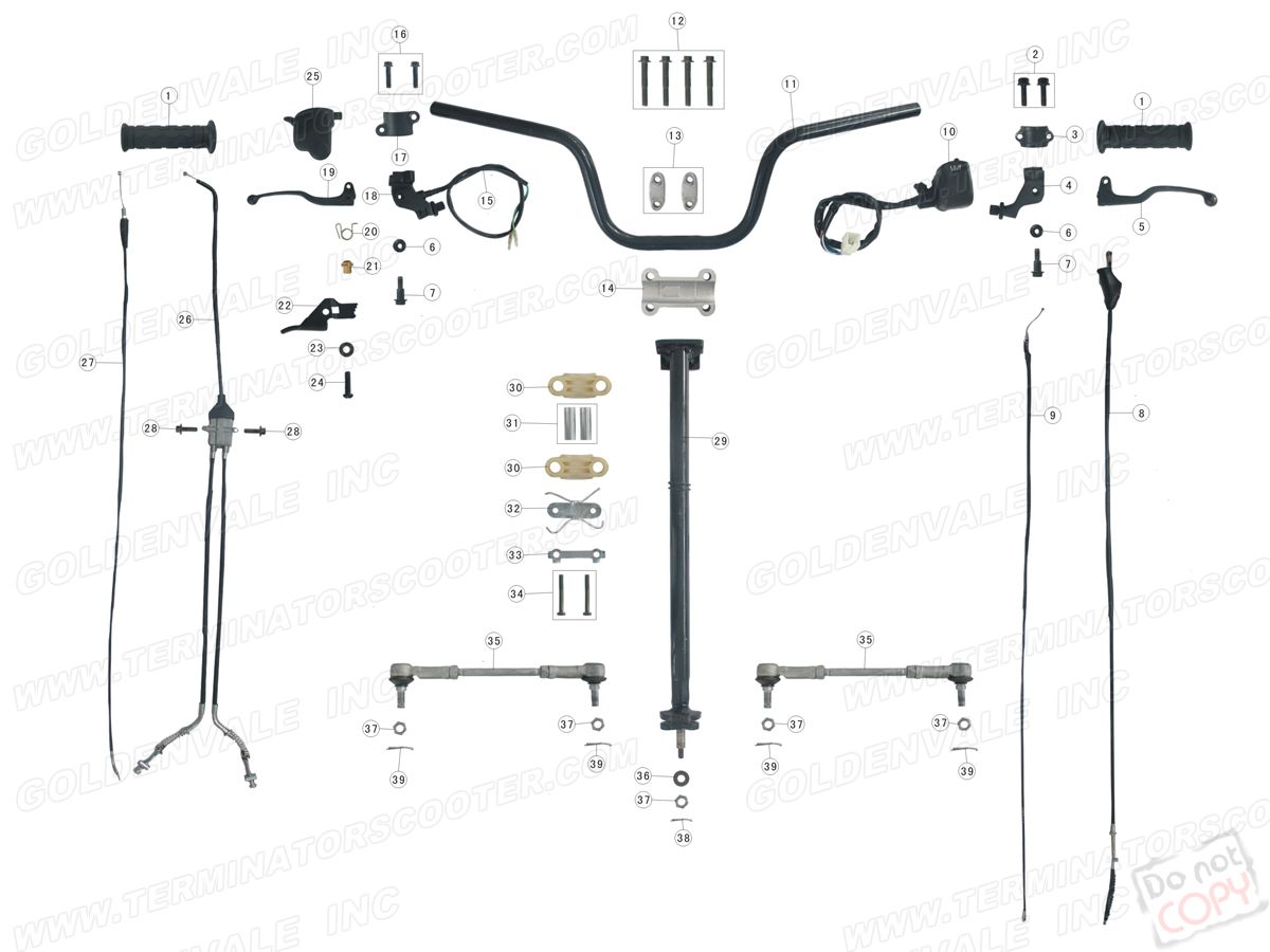 ROKETA ATV 02 STEERING ASSEMBLY PARTS on roketa clutch diagram