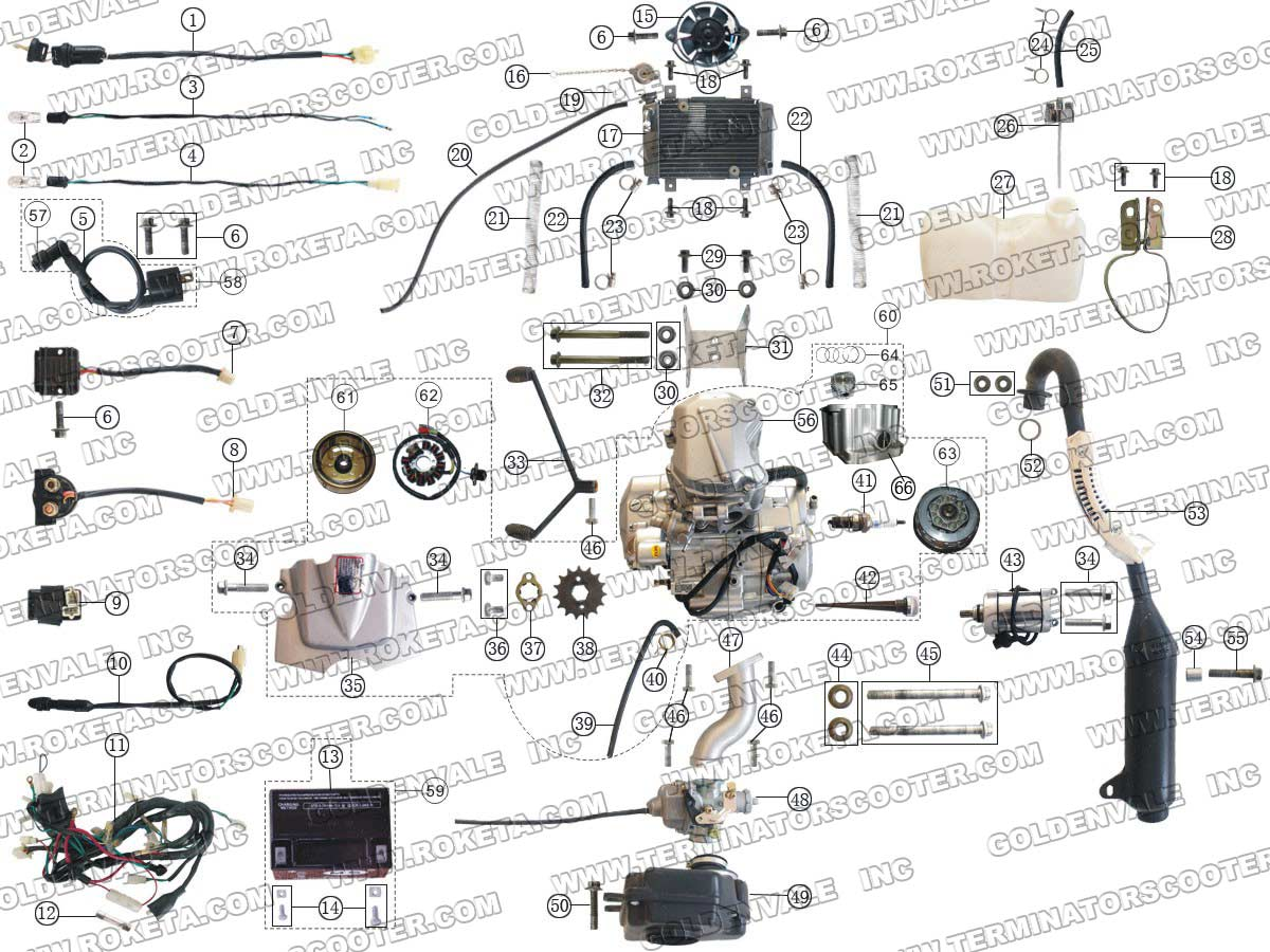 roketa atv 04 250 engine wiring and exhaust parts rh roketapartsdept com 110 ATV Wiring Schematics Roketa 90Cc ATV Wiring Diagram