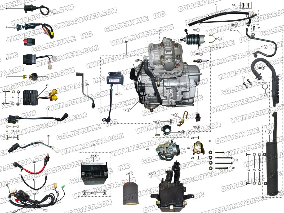 roketa atv 10 engine wiring and exhaust parts