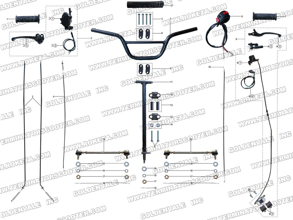 atv 29 03 roketa atv 29 steering assembly parts atv schematics diagrams at virtualis.co