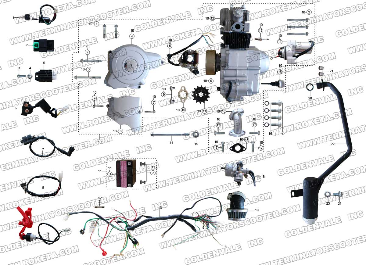 ROKETA ATV32 ENGINE WIRING AND EXHAUST PARTS – Diagram Of Scooter Engine