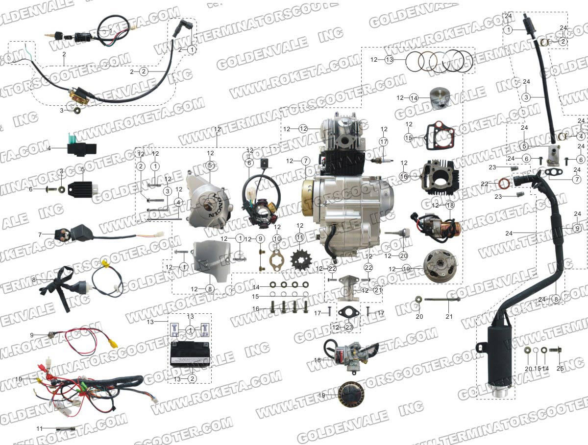 110 roketa wiring diagram roketa atv 58 engine wiring and exhaust parts