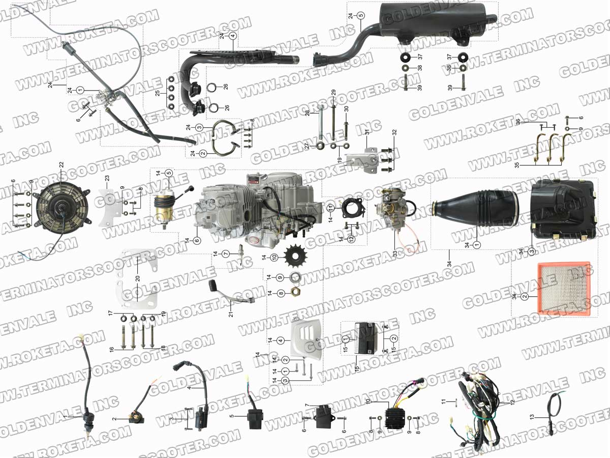 roketa atv 61 engine wiring and exhaust parts