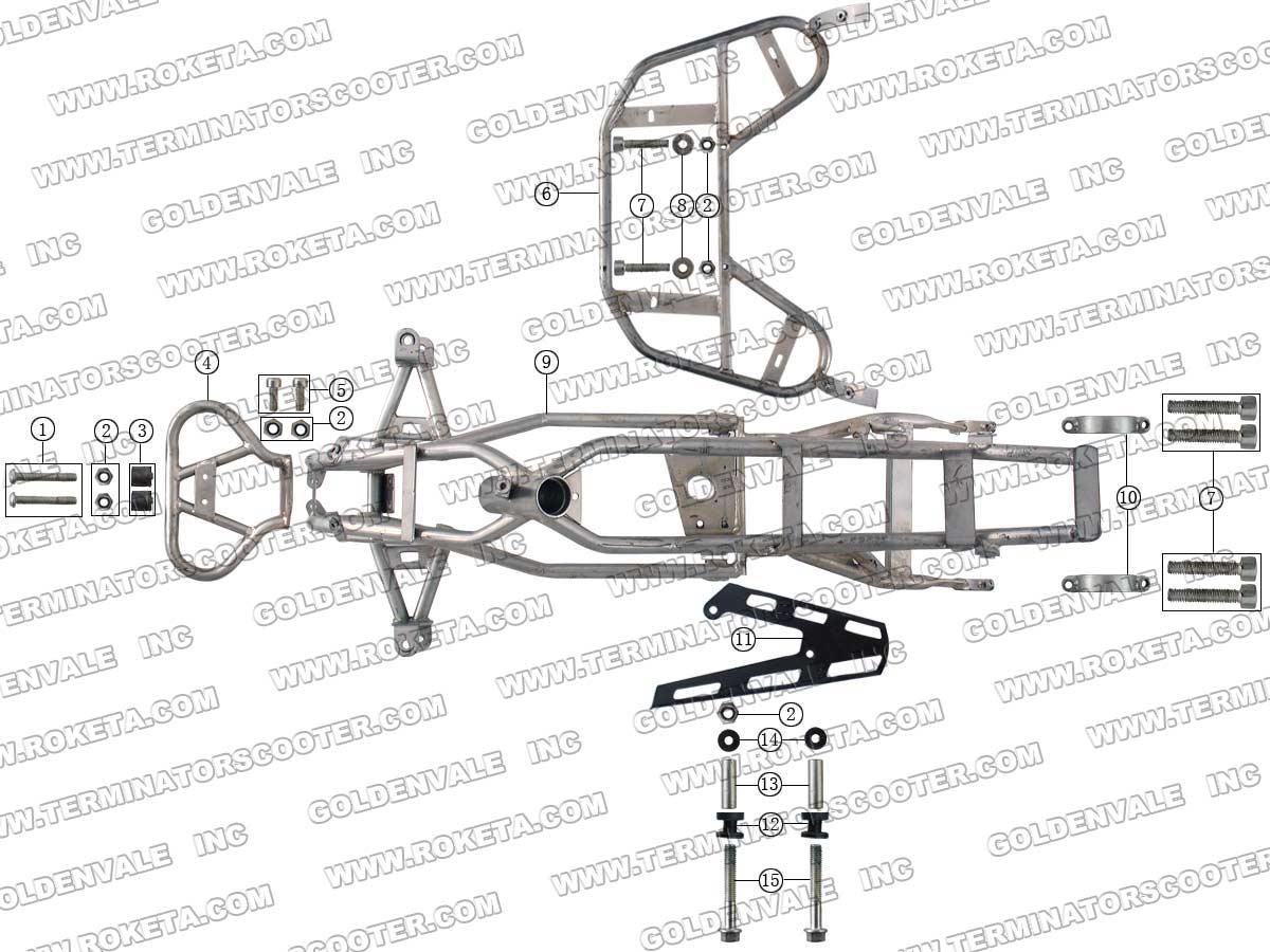 Atv Frame Diagram Wiring Diagrams Box Baja 50 Roketa 63 Parts Kazuma 110