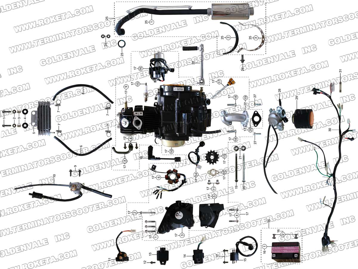 atv 67 02 roketa atv 67 engine, wiring and exhaust parts roketa 250 go kart wiring diagram at gsmx.co