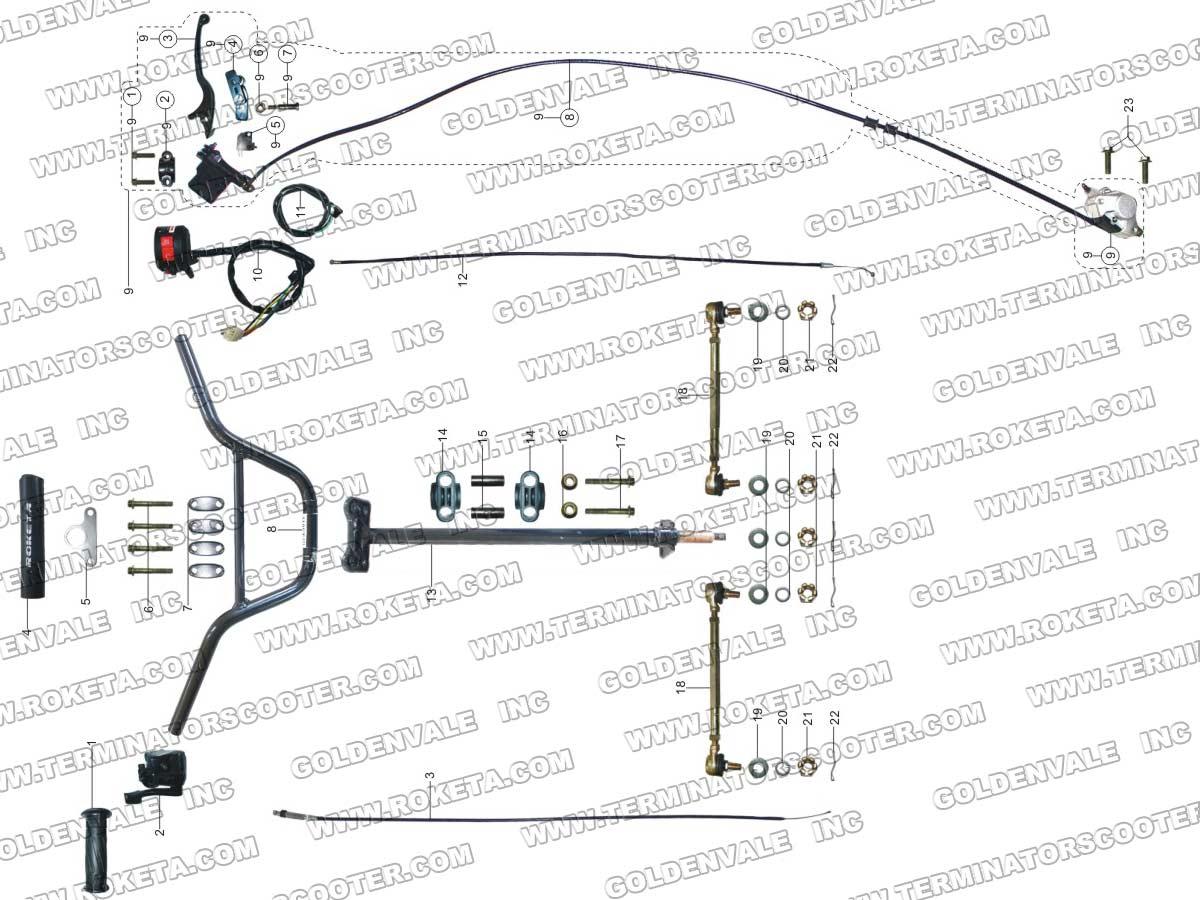atv 68 06 roketa atv 68 steering assembly parts