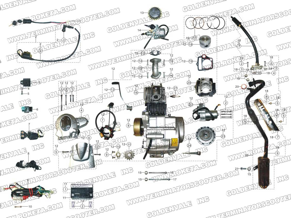 roketa atv 70 engine wiring and exhaust parts rh roketapartsdept com coolster 110cc atv engine diagram tao tao 110 atv engine diagram