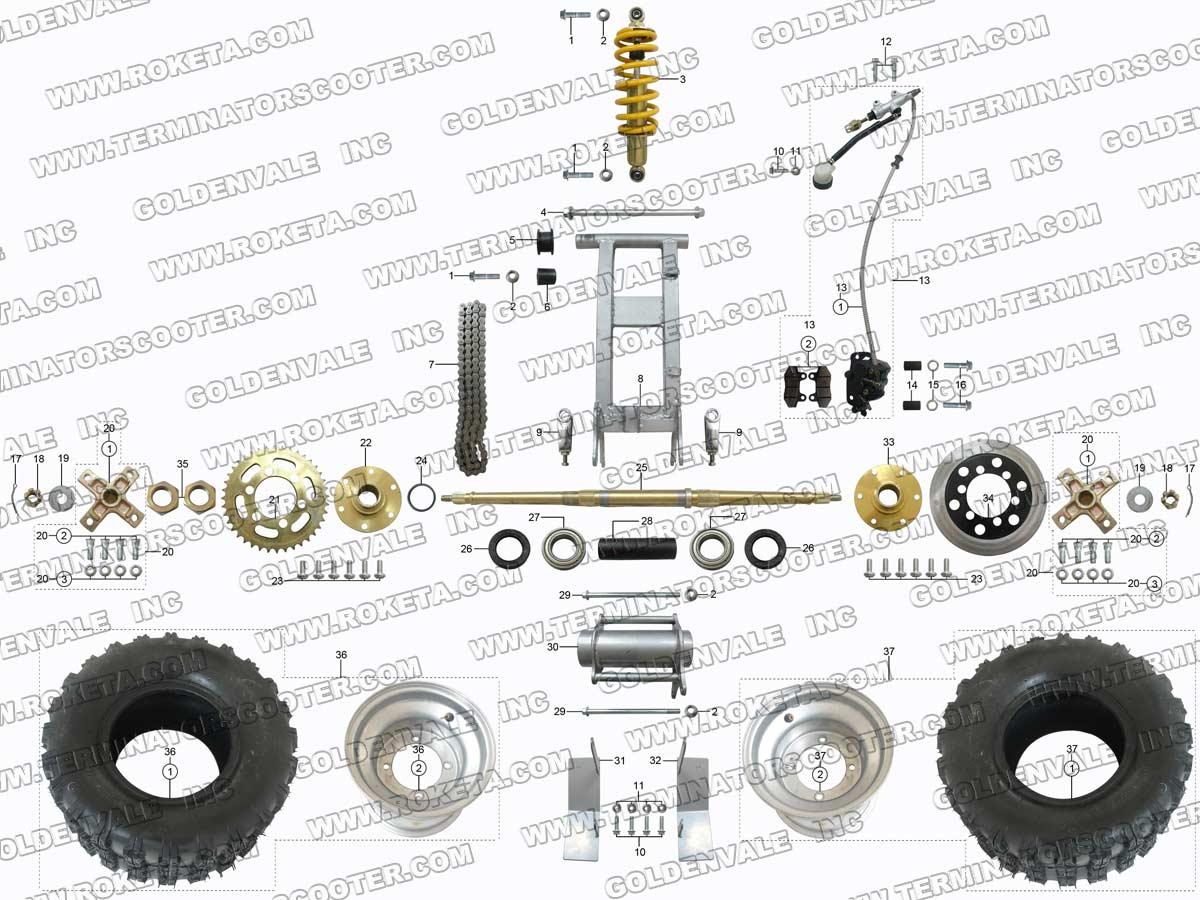atv 78 04 roketa atv 78 rear wheel assembly parts