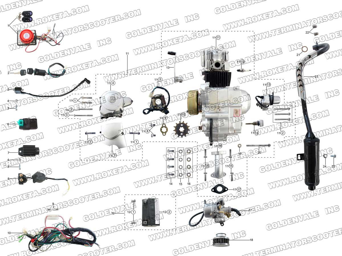 roketa atv 79 engine wiring and exhaust parts