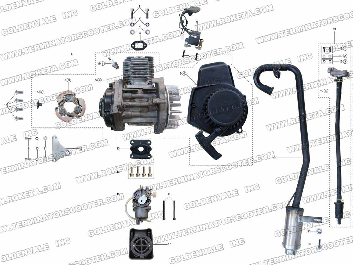 roketa atv 80 engine wiring and exhaust parts