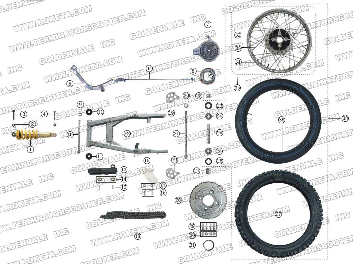 Roketa Db 27 Rear Wheel Assembly Parts