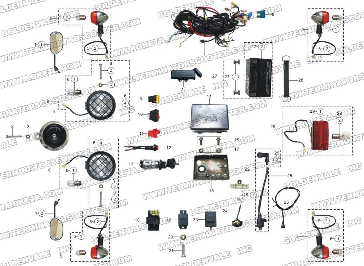 Go Kart Wiring Diagram Roketa Gk 01 Mc65 150cc Wire Electrical Parts On Chinese Mini Chopper