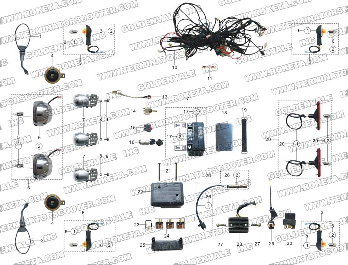 Roketa Gk 01 Wiring Diagram 27 Images 150cc Gy6 Scooter Wire Harness 06 Electrical Parts 02 At Cita