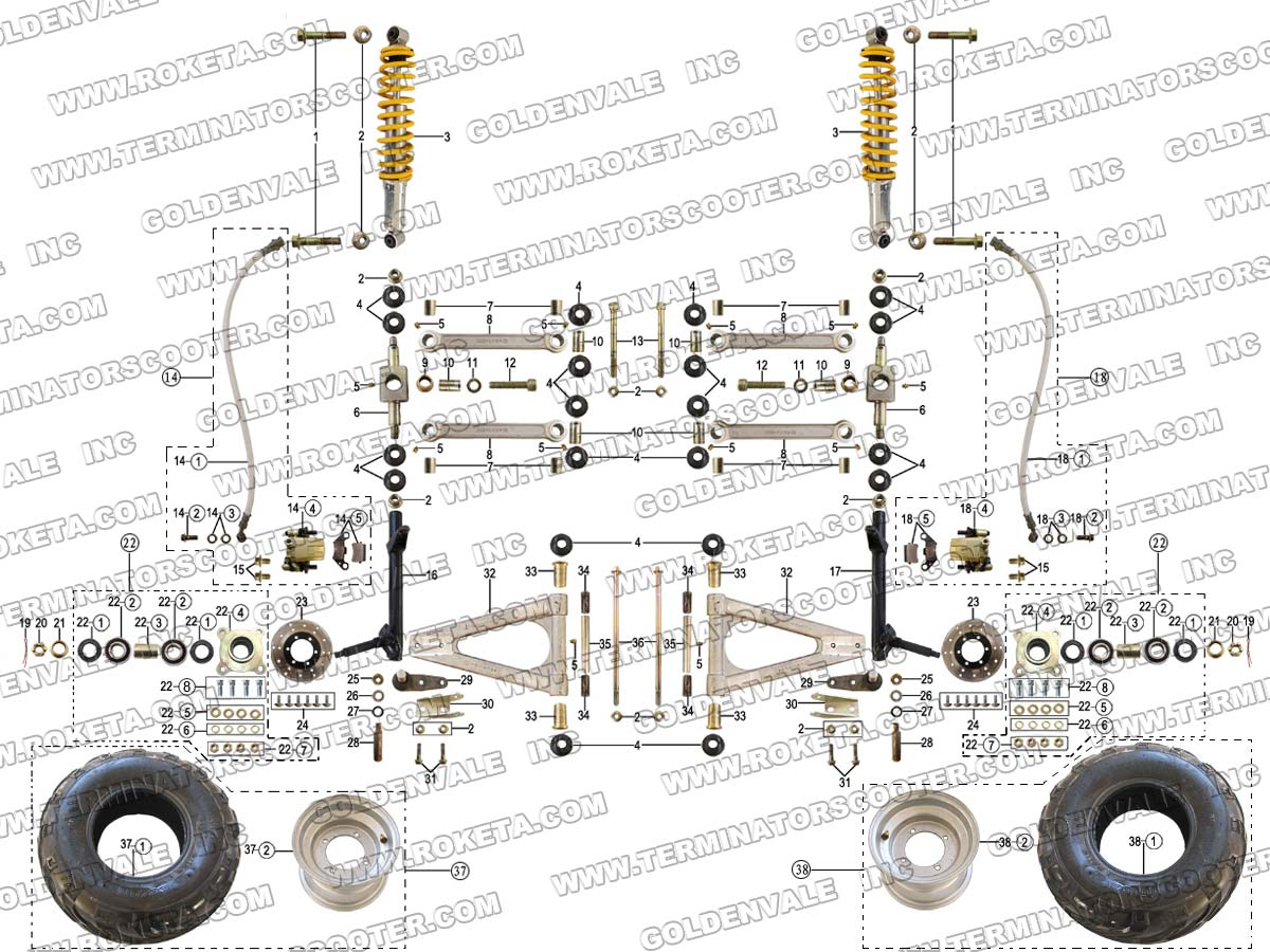 Roketa Parts Diagram Electrical Wiring Diagrams 400cc Atv Gk 13 Front Wheel Assembly Scooter Schematic