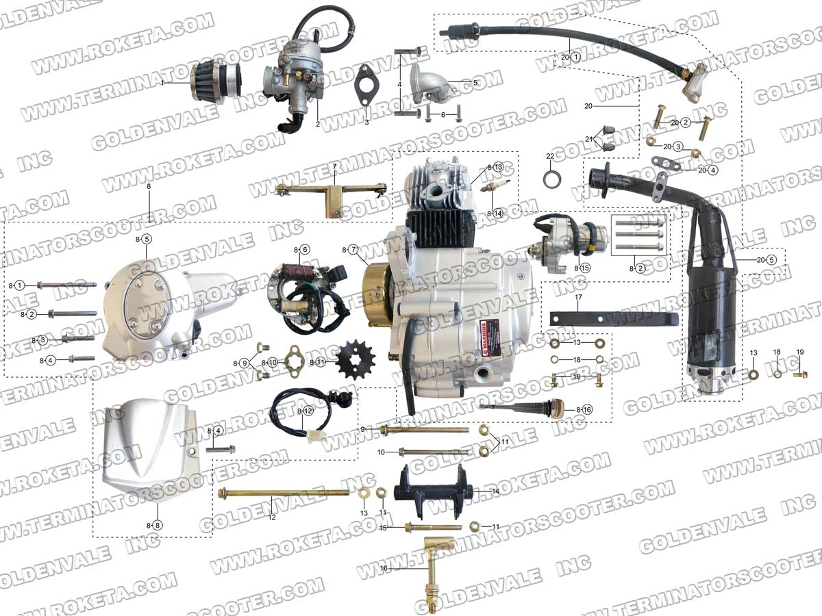 Roketa Gk 01 Wiring Diagram 27 Images 150cc Gy6 Scooter Wire Harness 17 03 Engine And Exhaust Parts At