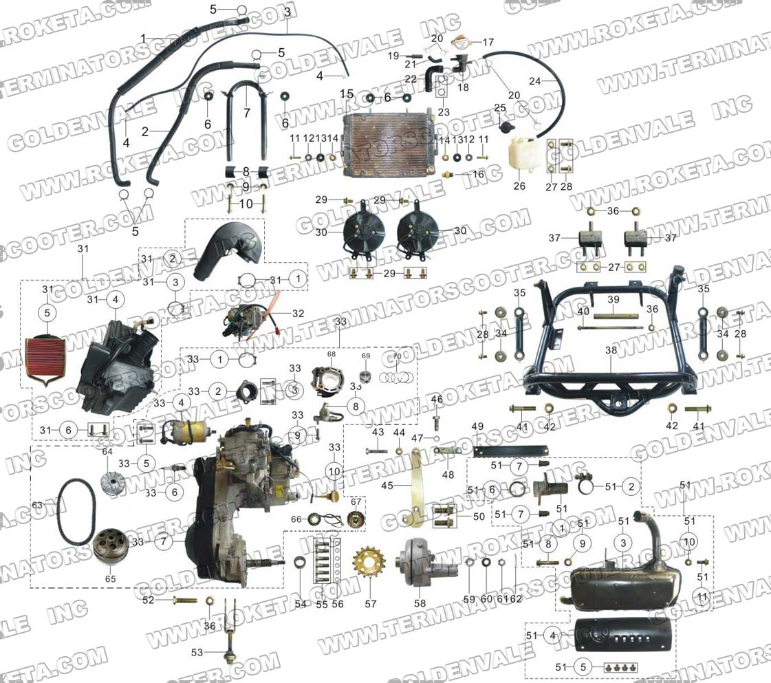 roketa gk 19 engine and exhaust parts