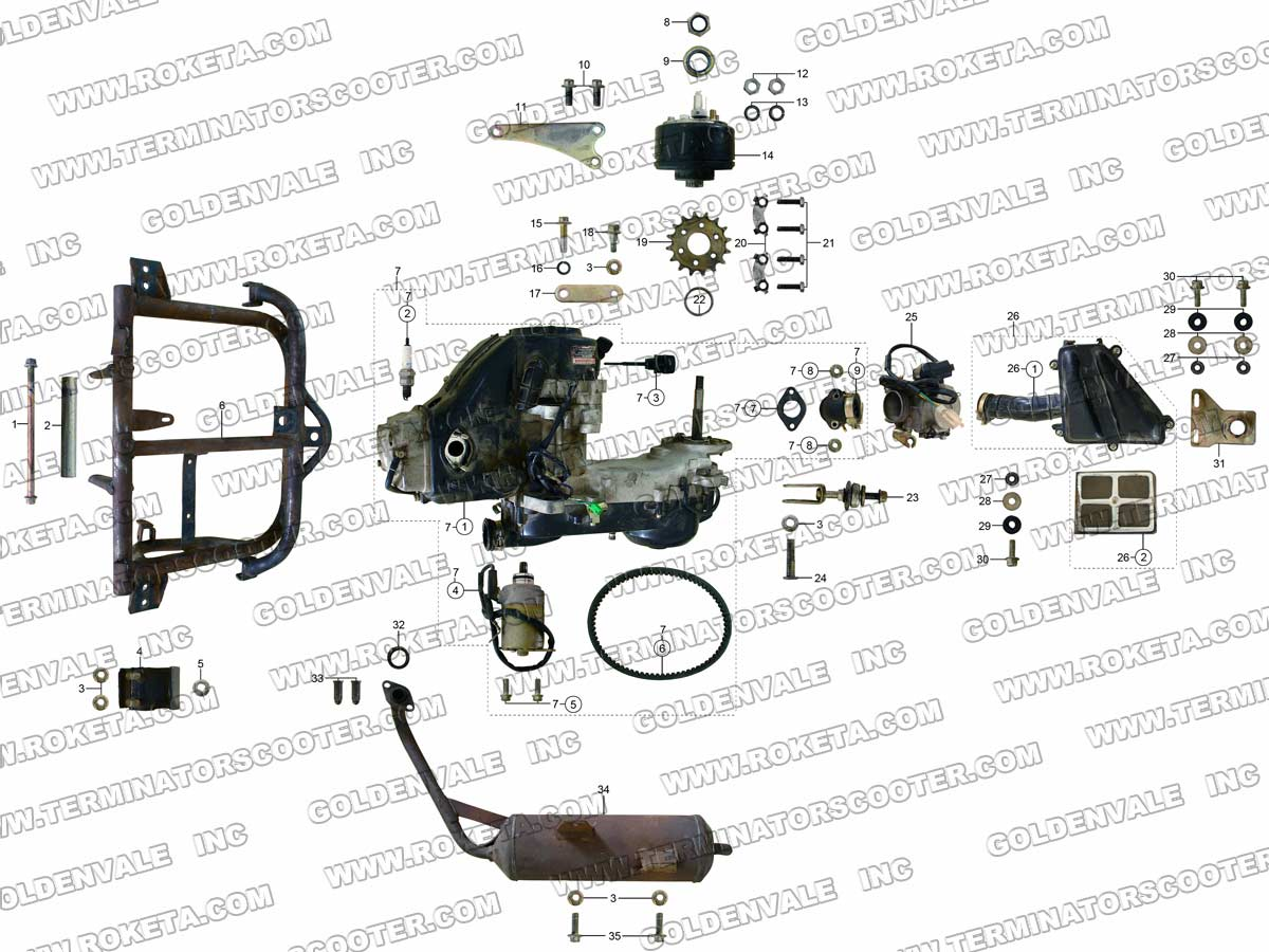 Roketa Gk 01 Wiring Diagram 27 Images 250 Go Kart 28 03 Engine And Exhaust Parts At