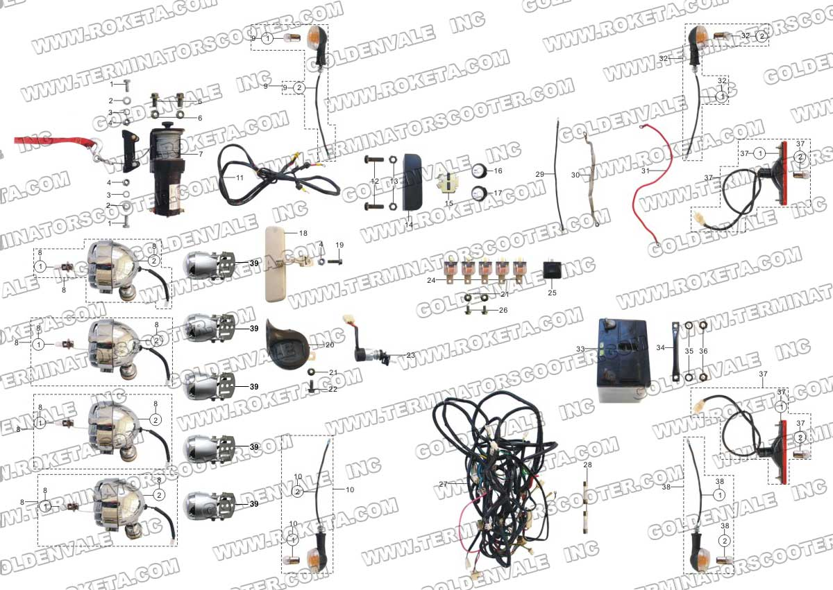 Roketa 250 Gk 19 Dune Buggy Wiring Diagram Opinions About 250cc 32 Electrical Parts Rh Roketapartsdept Com