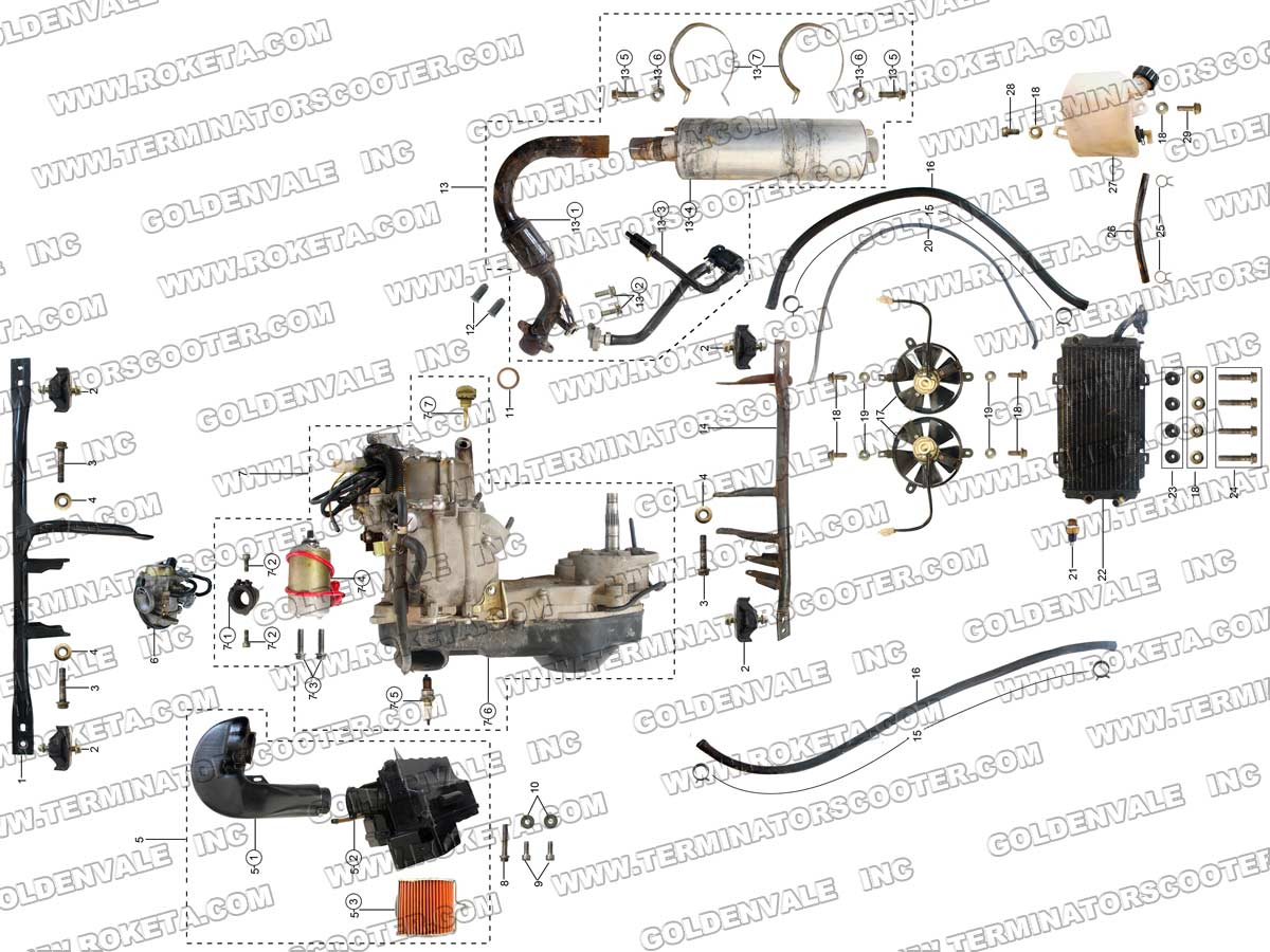 Roketa Gk 13 Wiring Diagram 27 Images Go Kart Harness 39 03 Engine And Exhaust Assembly Parts