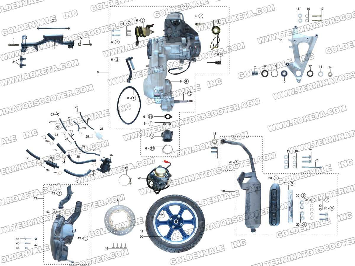 Roketa Mc 12 Engine Exhaust And Rear Wheel Assembly Parts Diagram
