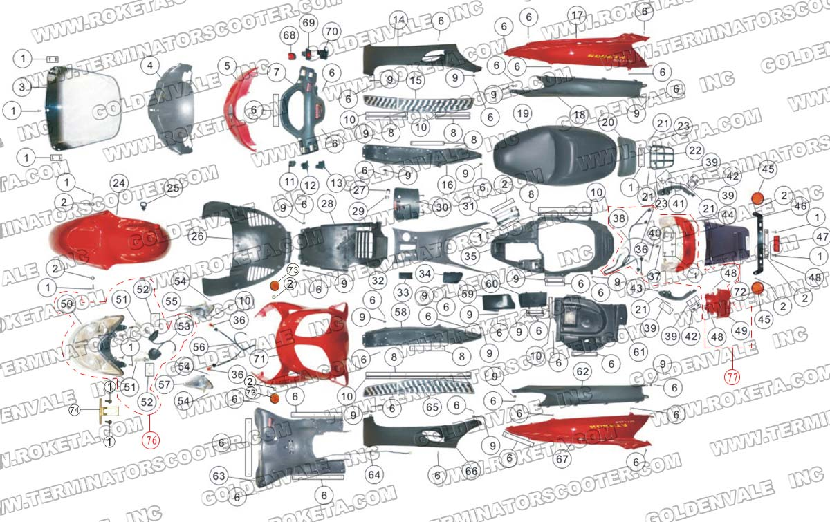 roketa mc 13 150 body parts