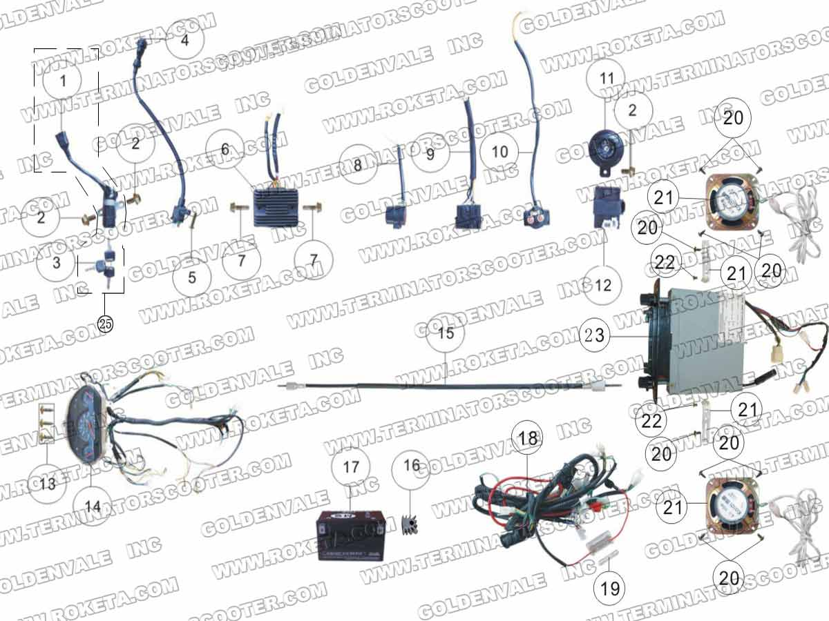Roketa Mc 13 250 Electrical Parts 110 Wiring Diagram Roketa 250 Wiring  Diagram