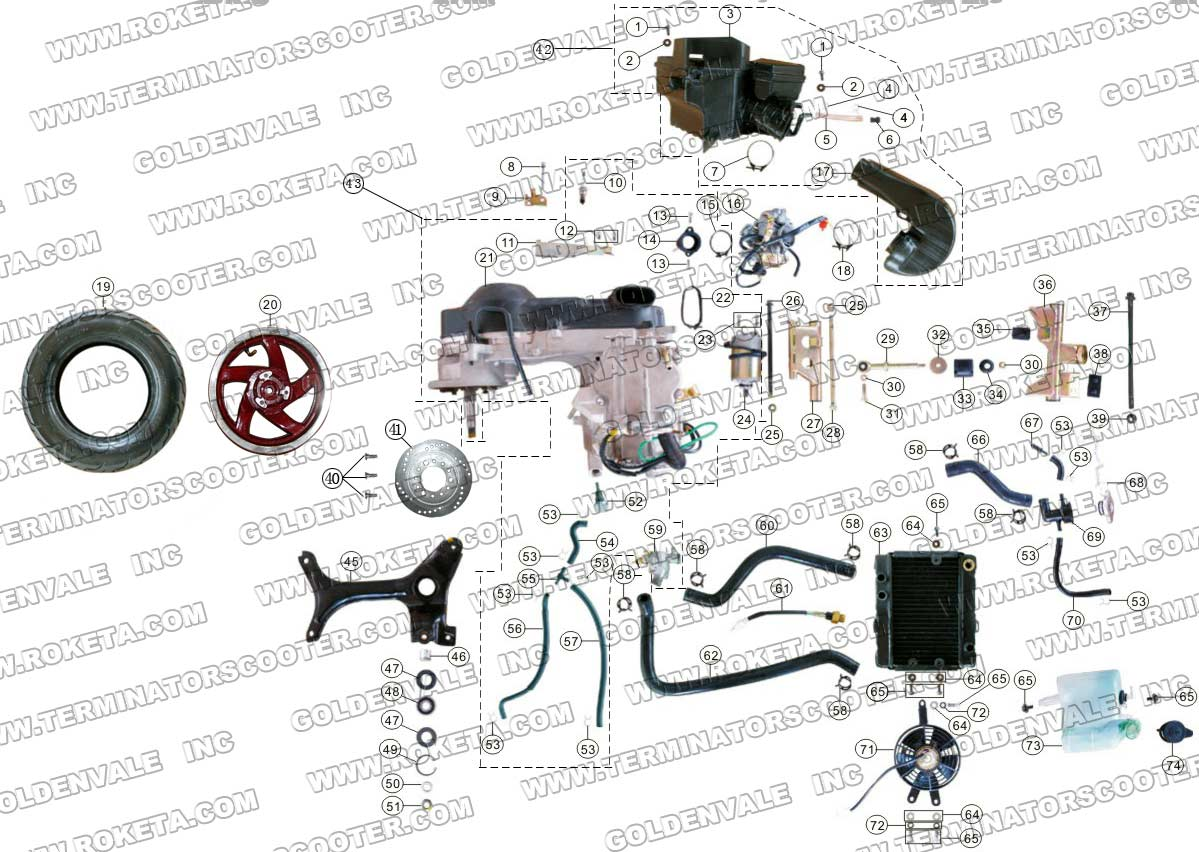 roketa mc 13 250 engine and rear wheel assembly parts
