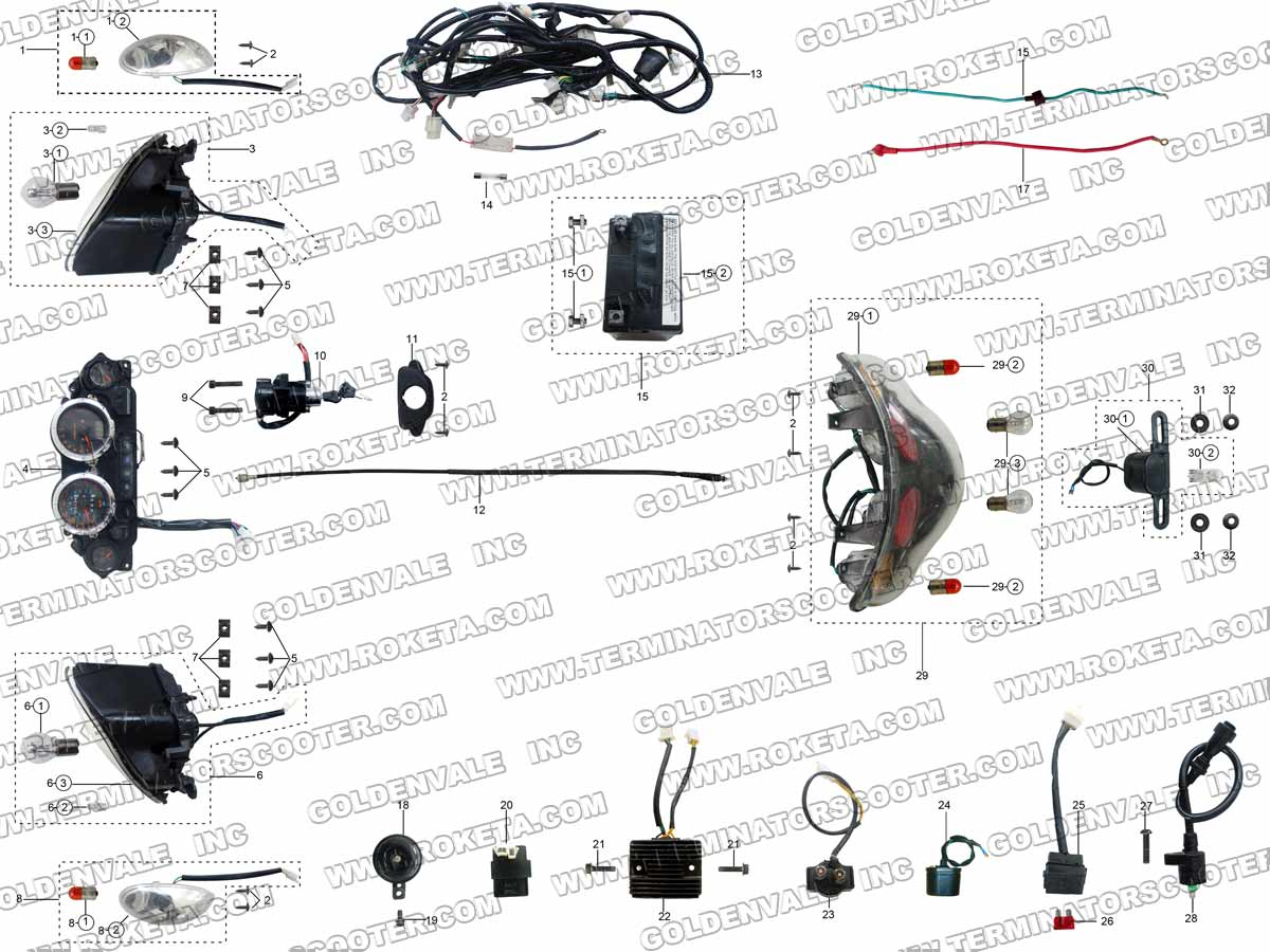roketa mc 54 250 electrical parts rh roketapartsdept com Roketa Scooter  Manuals 150 Roketa MC -07