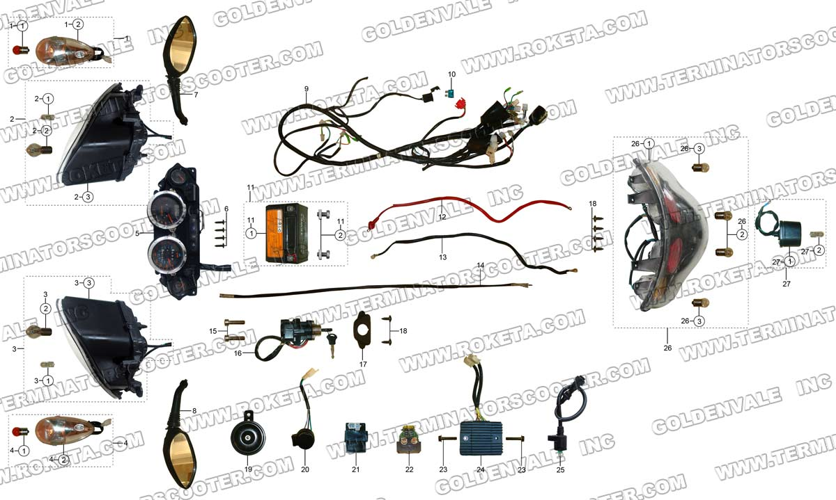 roketa mc 54b 250 electrical parts rh roketapartsdept com Roketa MC- 113 Roketa Scooter