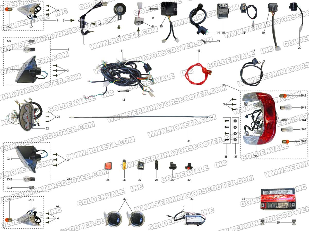 Wiring Diagram Roketa Mc 08 Electrical Diagrams Maui 50 68a 250 Parts American