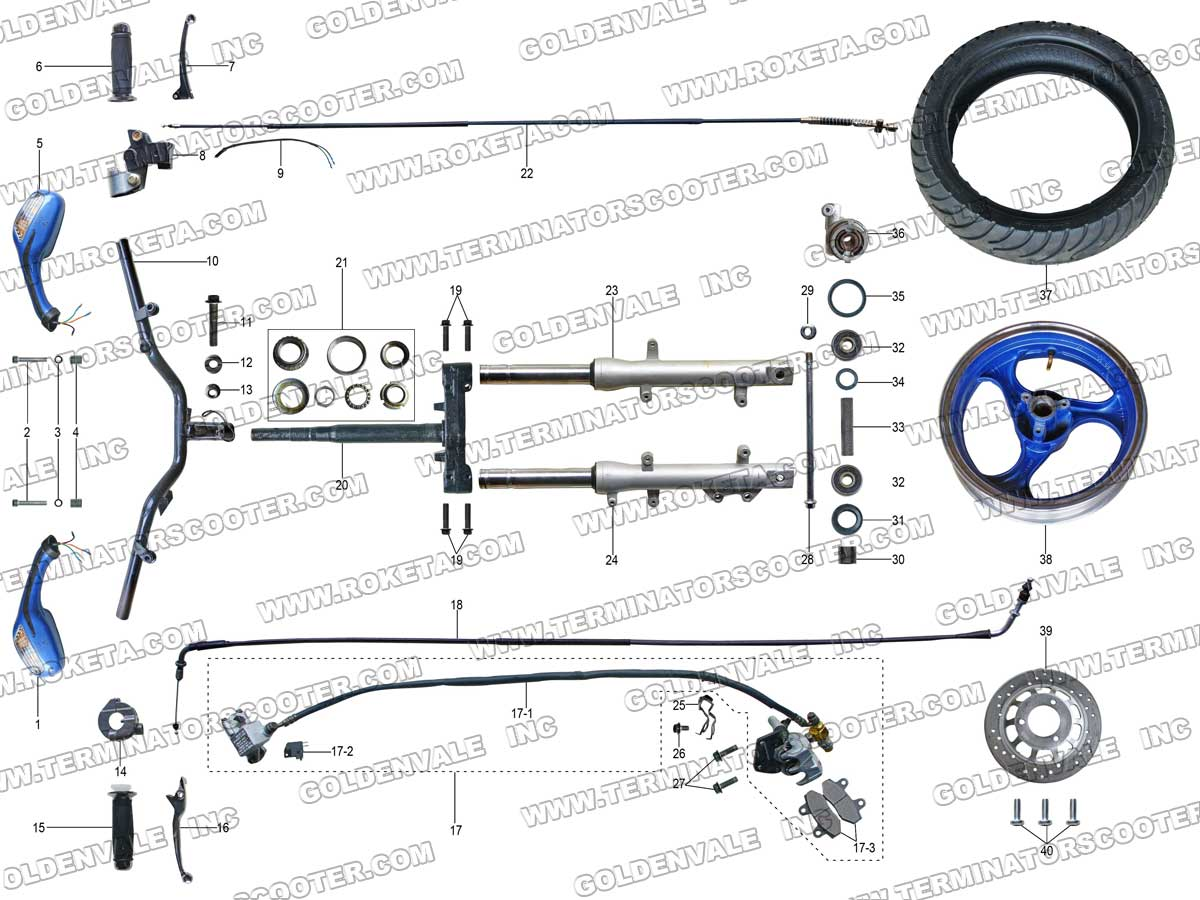 roketa mc 74 steering assembly parts