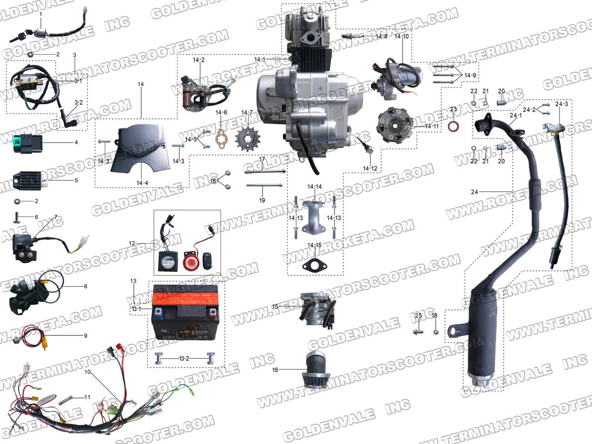 Mc 54 250 Wiring Diagram Library Roketa 250cc Atv 20ar Engine And Exhaust Parts Full System