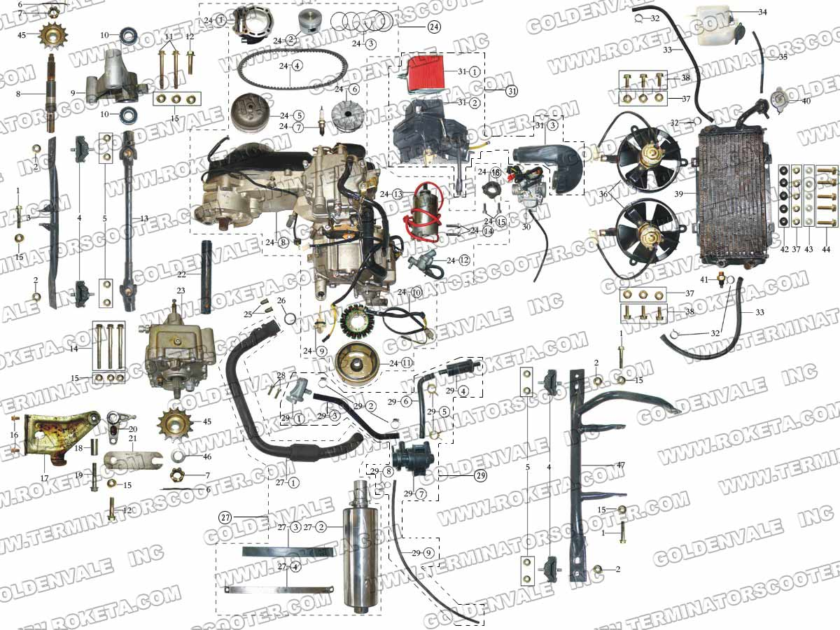 Roketa Gk 19 250cc Wiring Diagram Diy Enthusiasts Diagrams 110 13 Engine And Exhaust Parts Rh Roketapartsdept Com Tao 110cc Atv 2008 Scooter Schematics