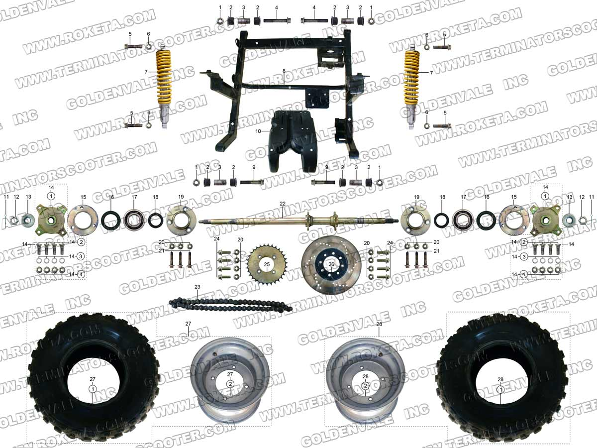 Go Kart Gk 28 150cc Wiring Diagram Trusted Diagrams Roketa Rear Wheel Assembly Parts Manual