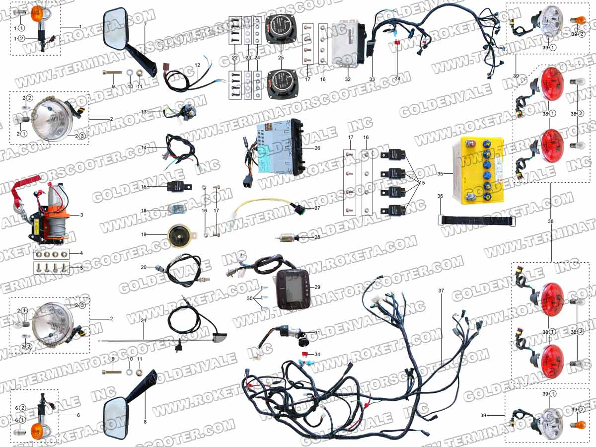 Go Kart Gk 28 150cc Wiring Diagram Will Be A Thing Gy6 Stator Roketa 40 Electrical Parts Rh Roketapartsdept Com Baja Dune 5 Wire