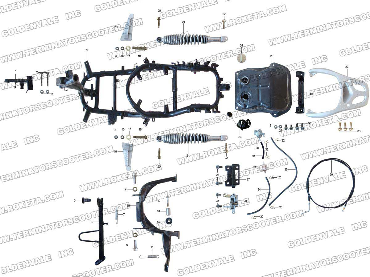 Roketa Mc 12 150 Wiring Diagram Enthusiast Diagrams 110 Frame Parts Rh Roketapartsdept Com Baja 50cc Atv 110cc