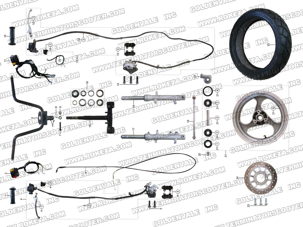 Roketa 250 Scooter Wiring Diagram Free Download Trusted 90cc Atv Schematic Mc 54b Steering Assembly Parts Rh Roketapartsdept Com